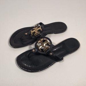 Tory Burch Miller 2 Snake Logo Sandals Women 11 M